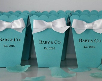 Personalized Baby U0026 Co Favor Box  Robin Egg Blue For Baby Showers, Bridal  Showers