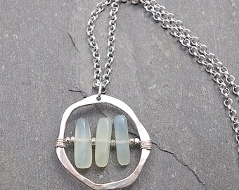 Gemstone Pendant, Circle Necklace, Silver Pendant Necklace, Jade Necklace, Leather Necklace, Gemstone, Gift for Her, Hammered Silver