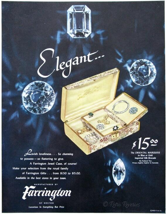 1953 Farrington Jewelry Ad Oriental Marquise Jewel Case