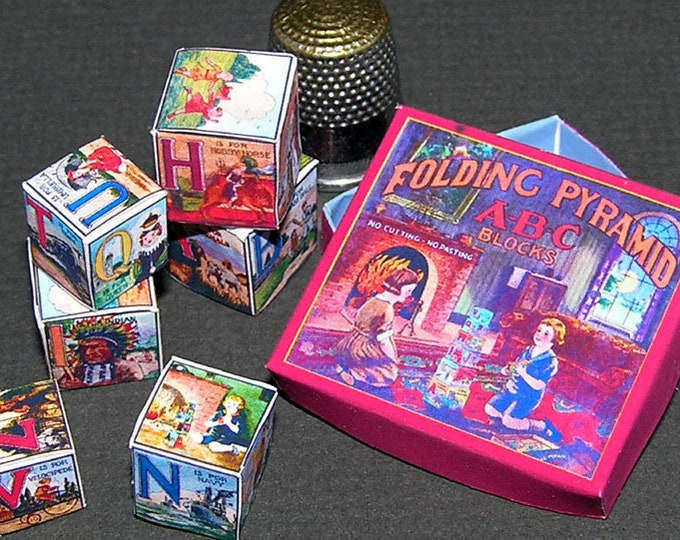 ABC Block pyramid, Paperminis, Bastelkit of paper in miniature for the Dollhouse, the doll house, Dollhouse Miniatures # 40009