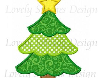 Christmas Tree Applique Machine Embroidery Design NO:0273