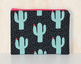 Green and black cactus pouch / clutch / pencil case with zip closure