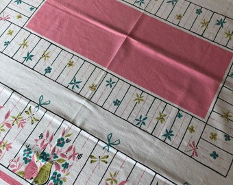 """Vintage Cotton Tablecloth Pink, Yellow and Aqua Dragonfly and Fruit 62"""" x 52"""""""