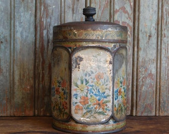 Antique Tea Tin Canister, Coffee Can, Flower Lithographic Tins