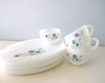 Vintage 1950s Patio Snack Set White Milk Glass Mid Century Modern Entertaining Serving