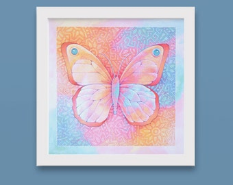 butterfly original art, hand-colored print, illustration