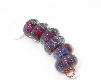 Red Blue Boro Frit Beads - Prima Donna Beads