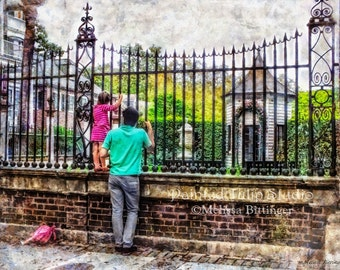 Antebellum Garden Legare Street Charleston SC Pineapple Gates House Father Daughter Fine Art Photography Print or Gallery Canvas Wrap Giclee