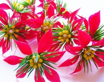 """12 Poinsettia Picks 3 1/4"""""""