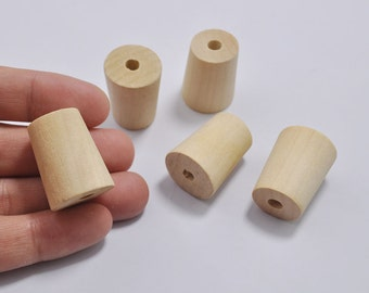 20pcs Trapezoid Wooden Beads - Natural Tube wood bead - unfinished wood beads -27x20x17mm
