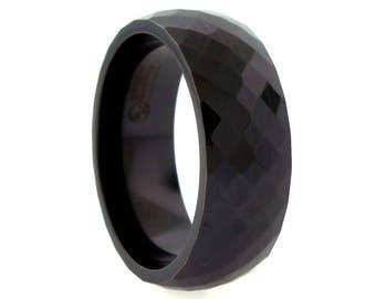 Black Titanium Faceted Band Ring