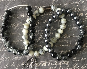 Black & silver mixed metals bracelet stack by AJM Designs, marbled grey, black white set of three bracelets w/ chain detail, edgy n stylish