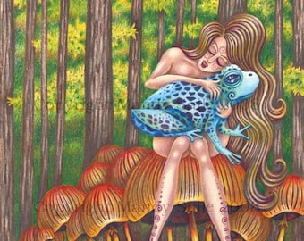 """Id - a quirky 8 x 10"""" ART PRINT of the subconscious mind where a beautiful woman befriends a poisonous bright blue frog in the deep forest"""