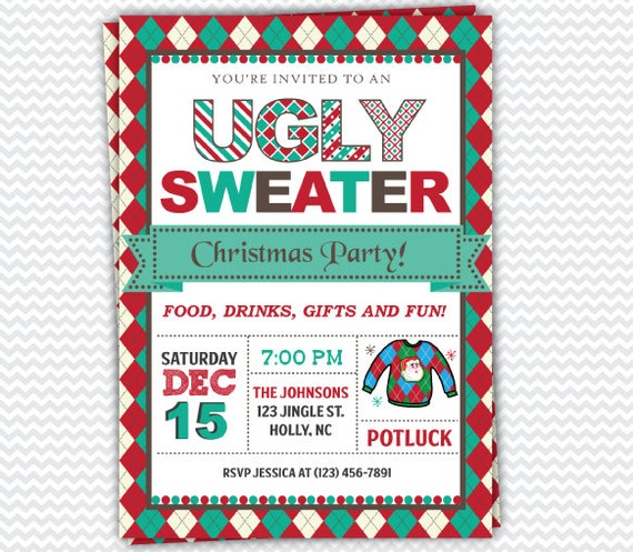 Ugly Sweater Christmas Party Invitations | Christmas Party Invitation