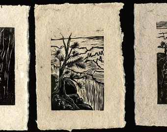 SET of 3 Original Woodcut Prints Grand Canyon Hiker's Views Rim Trail Landscapes on Handmade Paper