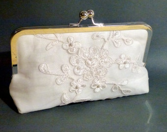 Bridal Clutch Alencon Lace Ivory Flower Pattern