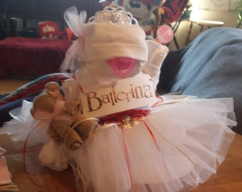 """Diaper Cake """"Sitting Baby Ballerina"""" You pick theme/colors/add name?!!!"""