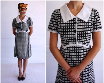 Vintage 50's/60's Black and White Textured Shirt-Waist Dress by Shannon Rodgers for Jerry Silverman | Medium