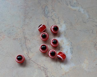 """Greek eye"" beads of red and black. 8 mm"