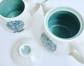 Hand thrown hydrangea Teapot and mug set