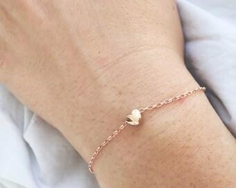 Silver bracelet with gold bath pink mini heart