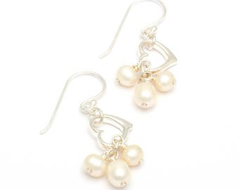 Drops of Pearl Sterling Silver Earrings
