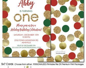 Christmas 1st Birthday Invitation, Christmas First Birthday Invitation, Red Green Gold Glitter Holiday Christmas Birthday Invite Printable