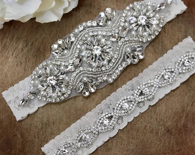 Crystal Ivory Bridal Garter Set NO SLIP grip vintage rhinestones C05S-CB19S