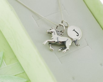 """Little girl's horse necklace in sterling silver on a 14"""" sterling silver chain. Little girls jewelry. Little girl's sterling necklace."""