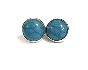 Turquoise Earrings | Turquoise Studs | Blue Stud Earrings | Turquoise and Silver Earrings | Silver Studs | 12mm Blue Studs | Turquoise Posts