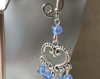 "Earrings ""heart and blue beads"""