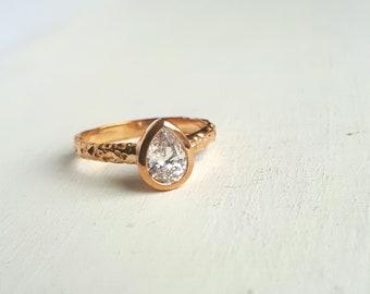 Rustic Gold Moissanite Engagement Ring - Organic Textured Band - Yellow Gold - Teardrop Gemstone - Pear Bezel