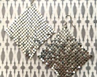 Metal Mesh Earrings, Metallic Silver, Silver Earrings, Disco Earrings