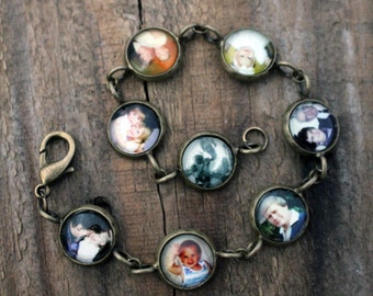 Customized Photo Link Charm Bracelet - Silver or Bronze - Personalized Keepsake with YOUR images - Gift for Mom, Wife, Wedding, Mothers Day
