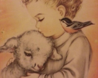Shepherd Boy and His Lamb Litho in Italy p.a. h c of Pgh
