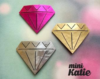 mini Katie Diamond Hair Barrette Hair clip Adorable Premium glossy hair Accessory