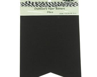 Chalkboard Paper Banner, Rectangle, 8-Inch x 5-1/4-Inch, 24-Piece