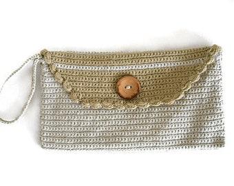 Beige crochet clutch bag, Crochet handbag, Beige Knit Handbag, Clutch purse, Boho Fashion, Summer Handbag, Evening clutch, Envelope Bag