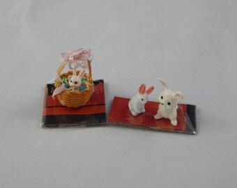 Vintage Ceramic Rabbits and Easter Basket Miniature Size