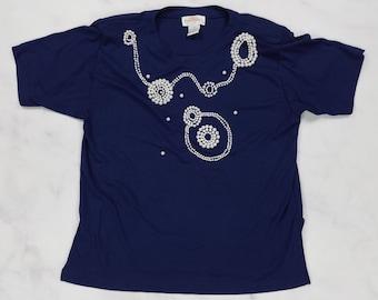 Vintage 80s Faux Pearl Beaded Short Sleeve Blue Shirt Top, Womens 2XL XXL