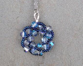 Galaxy Necklace in Vela - Blue Star Necklace - Blue Crystal Star - Sci-Fi Wedding - Something Blue Bridal - Snow Elf Jewelry - Galactic