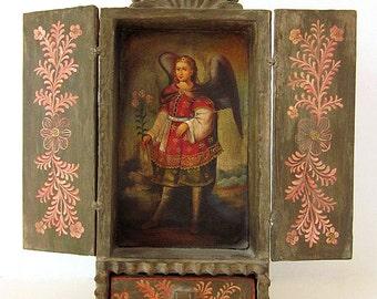 Cusco Retablo Wood Religious Art Shrine Miniature Oil Painting