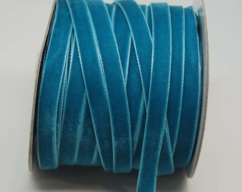 Velvet Woven Ribbon Trim -- 3/8 inches -- Turquoise Teal Blue