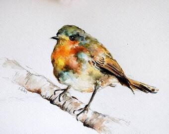 Original Watercolor Bird Painting, Colorful Robin, Watercolor Illustration 7x10 Inch