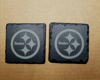 2 cool nice etched slate coasters, Pittsburgh Steelers