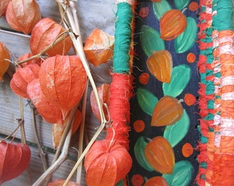 CHINESE LANTERN textile art BASKET Tray  hand  painted