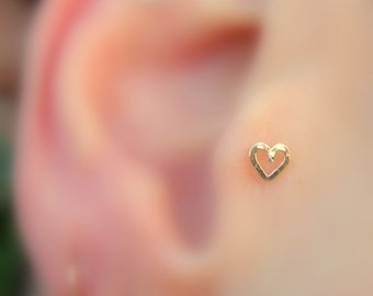 Tragus Stud - Nose Ring Stud - Cartilage Earring - 14K Yellow Gold Filled Valentine Heart Tragus Earring