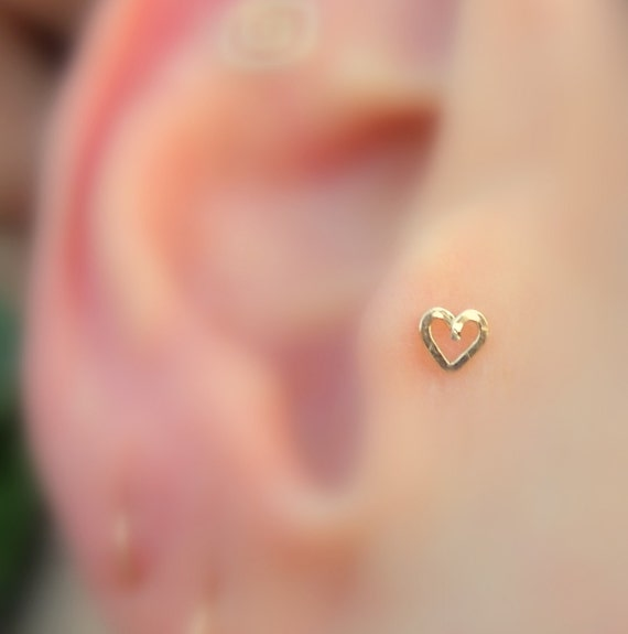 Tragus Stud Nose Ring Stud Cartilage Earring 14K Yellow