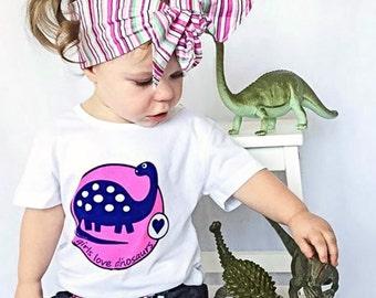 Girl Dinosaur Shirt, Dinosaur Party, Dinosaur Birthday, Dinosaur Tee, Dinosaur Theme, Pink Dinosaur, Girls Dino Tee, Girls Dinosaur Shirt