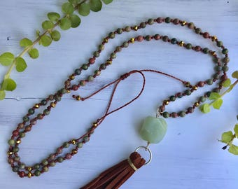 Suede tassel necklace, Beaded tassel necklace, Long boho necklace, Gemstone tassel necklace, Unakite and Aventurine knotted necklace